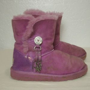 7072428659cd UGG Purple Short Boots Dangle Charms Girls Bailey